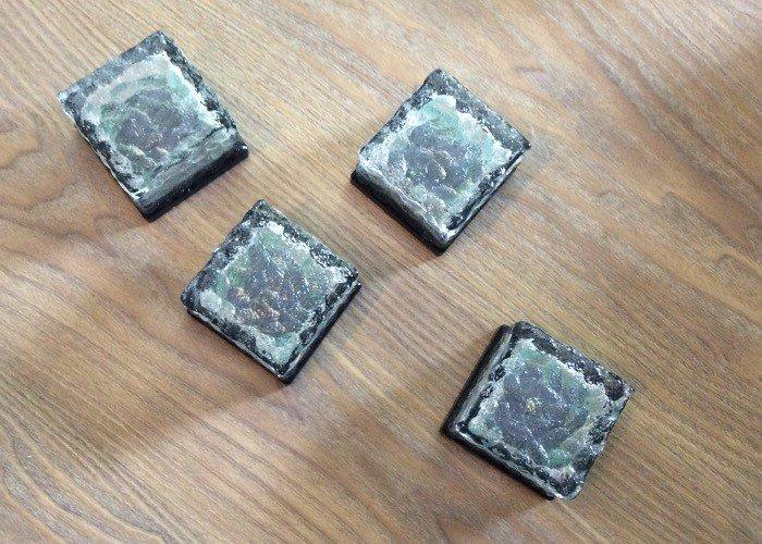 metech 4er set led solar glas pflasterstein wegbeleuchtung. Black Bedroom Furniture Sets. Home Design Ideas
