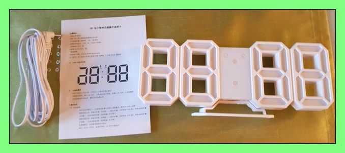 Test: EVILTO- LED Digital-Wecker dimmbar, Digital LED Tisch & Wanduhr Wecker mit einstellbarer Helligkeit Funktion für Schreibtisch Wand Bett (Weiß-Grün)